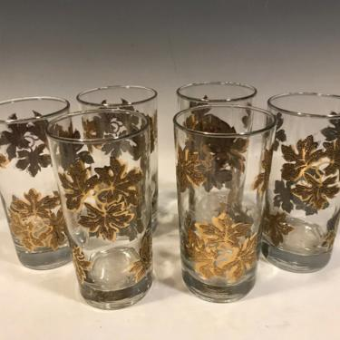 6 Vintage Libbey Libby Textured Leaf Cocktail Glasses, Raised Gold glassware, retro kitchen decor, mcm barware glasses, Christmas Tumblers by PeoplewillStare