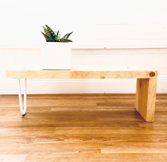 Plant Stand Solid Wood With White Hairpin Leg Minimal Design Modern Mid Century Decor by CasanovaHome