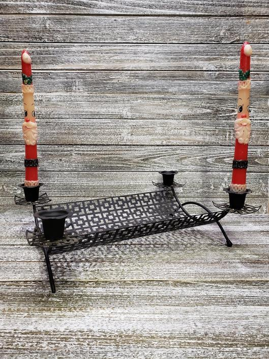 Vintage Candle Holder, Black Metal Mesh, Mid Century Modern Candlestick Holder, Black Iron Table Top Tray Centerpiece, Vintage Home Decor by AGoGoVintage