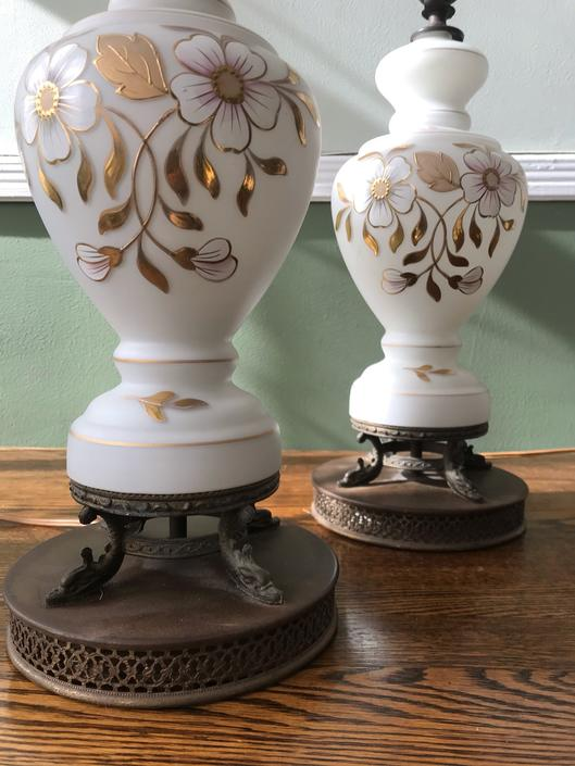 Vintage Pair White Glass Lamps Gold Floral Mid Century by RavenPearVintage