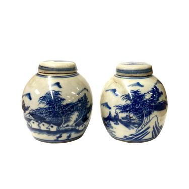 Pair Blue White Mini Oriental Graphic Porcelain Ginger Jars ws950E by GoldenLotusAntiques