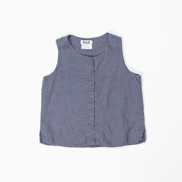 Hyssop Top — vintage linen tank / 1990s FLAX boxy minimalist blue, purple sleeveless shirt / women's small periwinkle buttoned summer blouse by fieldery