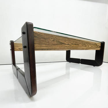 Percival Lafer Coffee Table Brazilian Mid Century Modern Wood Glass by AMBIANIC