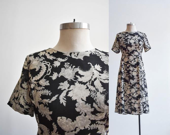 90s Black & Gray Floral Dress by milkandice