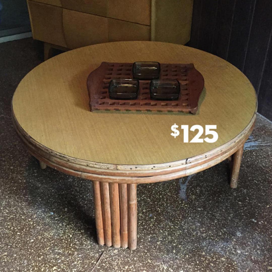 Heywood Wakefield Bamboo Rattan Coffee Table Patio Porch