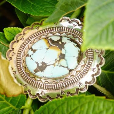 """Vintage HUGE Navajo Turquoise & Silver Belt Buckle, Signed H. MTZ Sterling, Large Speckled Turquoise Stone, Scalloped Silver Frame, 3 1/2"""" W by shopGoodsVintage"""
