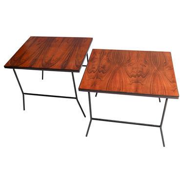 Pair of Carlo Hauner 1960s Mid Century Jacaranda & Metal Side Tables