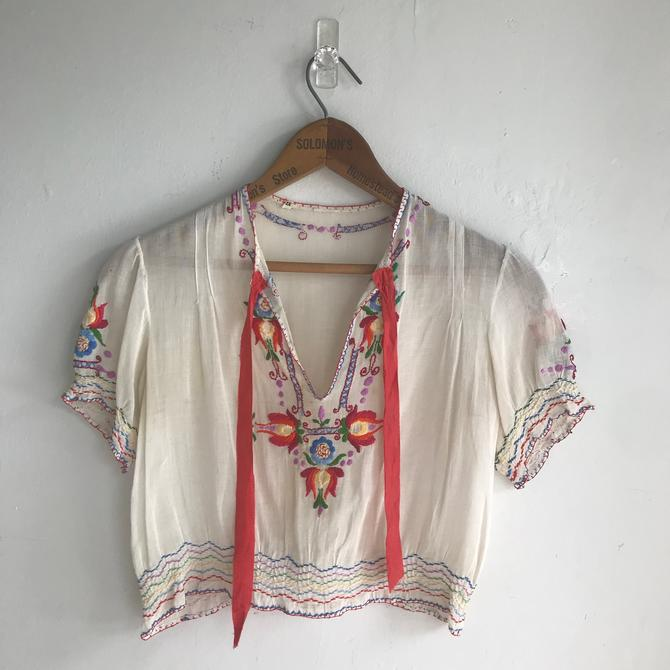 1940s Hungarian Peasant Style Blouse Embroidery and Red Ribbon 32 Bust Vintage Small by AmalgamatedShop