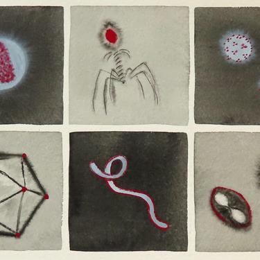 Five Villains and a Hero - original watercolor painting of viruses - microbiology by artologica
