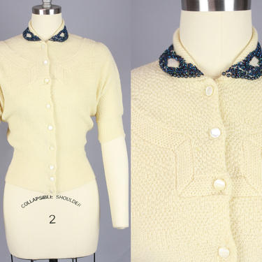 1940s Cardigan with Beaded Collar | Vintage 40s 50s Cream Sweater with Dark Blue Beadwork | small by RelicVintageSF