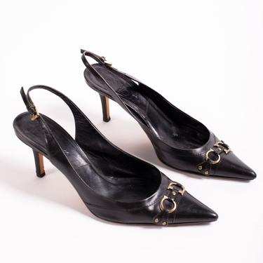 Christian Dior Y2K Black Leather Harness Logo Plaque Slingback Pumps size 39.5 9 9.5 Pointy Toe Heels John Galliano Minimal CD Monogram by backroomclothing