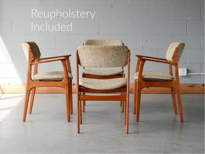 4 Mid Century Dining Chairs Erik Buch Model 49 Teak Danish Modern by MadsenModern