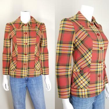 Vintage 70s Pendleton Blazer Sport Coat ~ Tartan Plaid Suit Jacket ~ 100% Wool ~ Princess Seams Peter Pan Collar Tapered Waist ~ Size XS/S by SoughtClothier