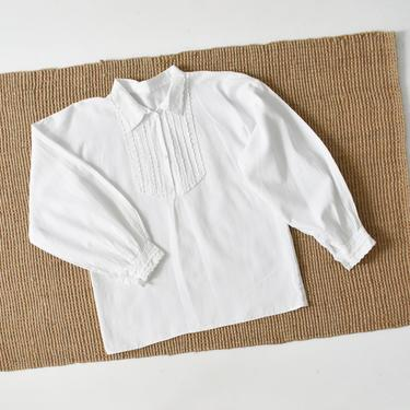 vintage white cotton peasant blouse, 70s collared shirt, size M by ImprovGoods