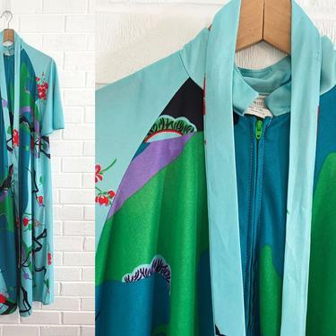 Vintage Boho Loungewear Robe One Size Floral Zip Up Kaftan Belted House Dress Hawaiian Muumuu Tiki Maxi 1970s XL XXL Plus Bell Short Sleeve by CheckEngineVintage