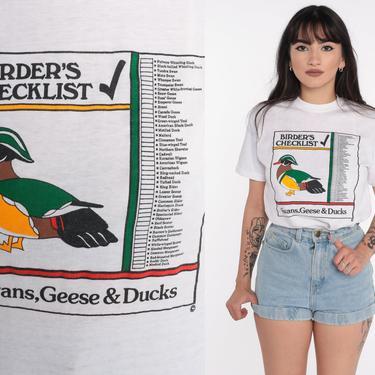 Duck Shirt 80s Birders TShirt Swans Geese Shirt Vintage Retro T Shirt Graphic Tee Single Stitch 1980s t shirt Bird Shirt Extra Small xs by ShopExile