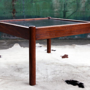 Gorgeous Mid Century Black Slate Stone Rosewood Teak Solid Coffee Cocktail Table Side End Designer MCM Danish Scandinavian matching chair by CatchMyDriftVintage
