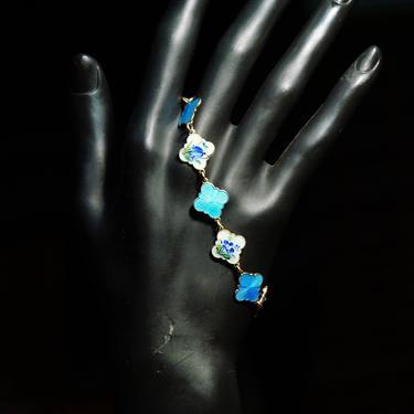 "Vintage David Anderson Norway Gilt Sterling Silver Guilloche Enamel Link Bracelet, Blue & White Enamel Links, Floral Motifs, 7 1/2"" L by shopGoodsVintage"