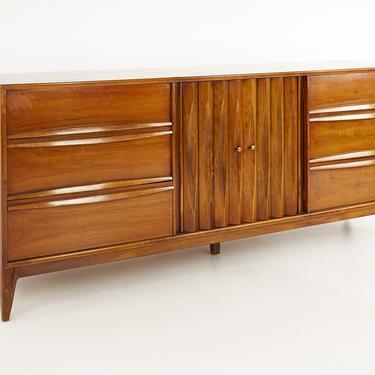 Thomasville Brutalist Mid Century Walnut Lowboy Dresser - mcm by ModernHill