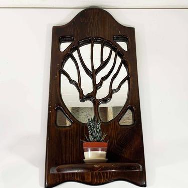 True Vintage Tree Wooden Mirror Shelf Wood Handmade Mantique Rustic Boho Hippie Americana Framed Wall Hanging USA Kitschy Kitsch 1970s 70s by CheckEngineVintage