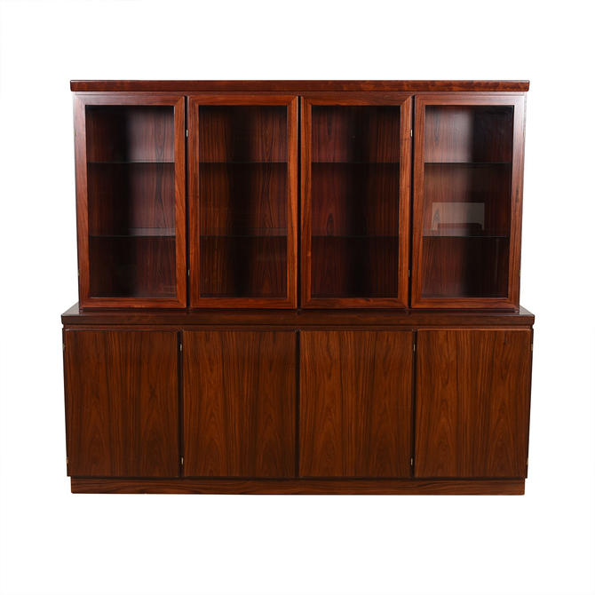 Lighted 2 Piece Danish Rosewood 4-Bay Display Cabinet \/ Storage