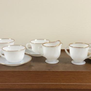 Vintage Anchor Hocking Fire King Milk Glass Swirl Tea Set for 4; Swirl w/ Gold Rim; Bowls, Plate, Creamer, Sugar, Cup, Saucer- 18 Piece by BlackcurrantPreserve
