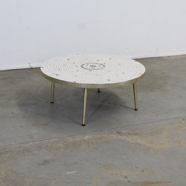 Mid Century Modern Atomic Round Tile Top Coffee Table by AnnexMarketplace