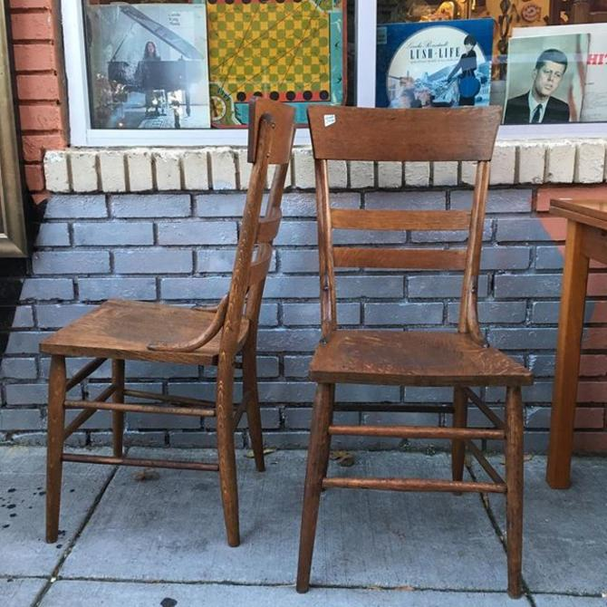 SOLD. Vintage oak chairs