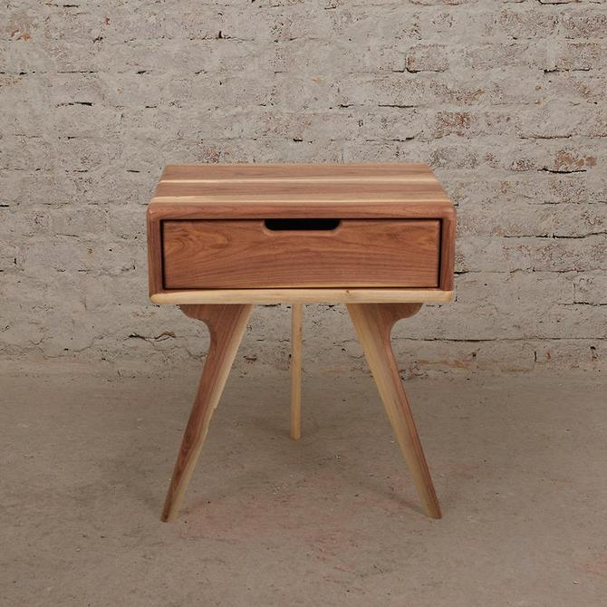 Walnut Nightstand, Bedside Table, Scandinavian design, side table with a drawer by MOKUArtisanFurniture