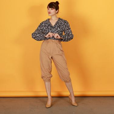 70s Light Beige Suede High Waisted Pants Vintage Cropped Petite Trousers by AppleBranchesVintage
