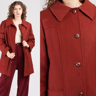 70s Distressed Red Wool Swing Jacket - Extra Large | Vintage Sears Collared Button Up Coat by FlyingAppleVintage
