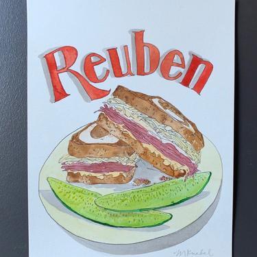 Ruben Sandwich Original Watercolor Painting