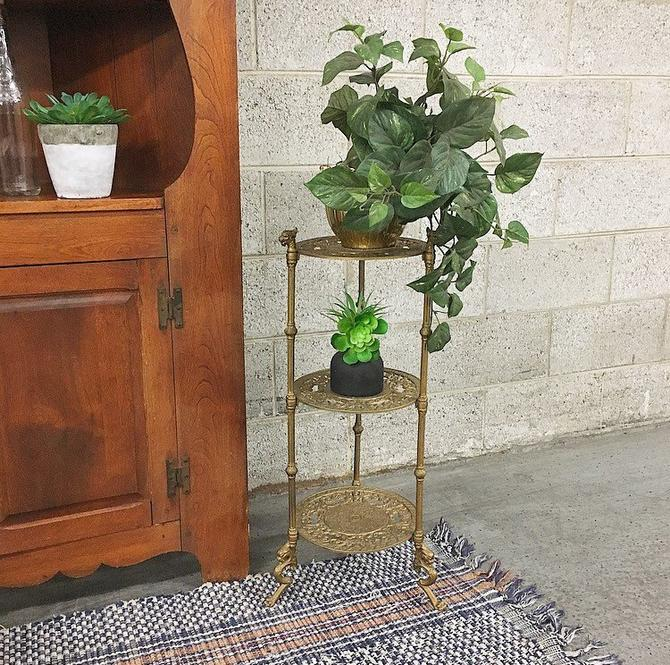 LOCAL PICKUP ONLY Vintage Plant Stand Retro 1970s Ornate Carved Gold Metal 3 Tier Plant Display with Asian + Dragon Design for Living Room by RetrospectVintage215