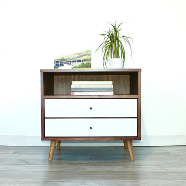 Mid Century Bedside Table with Two Drawers Night stand Side Table Modern Storage by jeremiahcollection