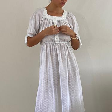 70s sheer cotton voile dress / vintage white cotton puffed sleeve square neck sheer gauzy Swiss dot maxi sun dress   S by RecapVintageStudio