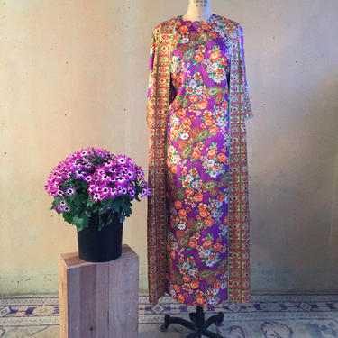 Vintage 70s Floral Dress w/ Attached Duster Jacket by LucileVintage