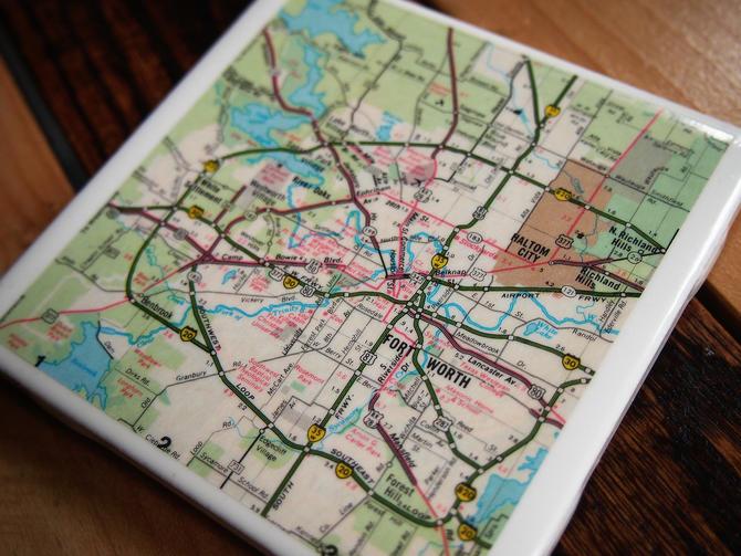 1972 Fort Worth Texas Handmade Repurposed Vintage Map