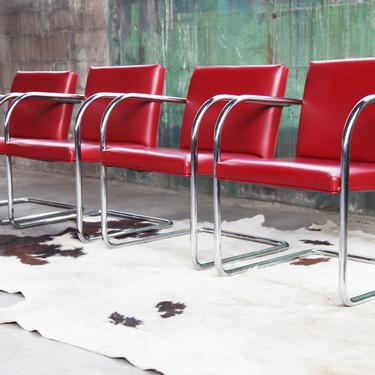 SET of Four Mid Century Modern Thonet Mies Van Der Rohe Brno Red + Chrome Cantilever Dining / Side / Accent Chairs by CatchMyDriftVintage