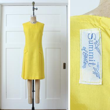 vintage 1960s sunshine yellow shift dress • textured nubby linen like dress • sleeveless mod summer dress by LivingThreadsVintage