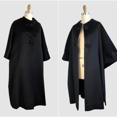 MADELEINE CASALINO Paris Vintage 50s Black Swing Coat | 1950s Joseph Magnin Tent Coat | 60s 1960s Mid Century, Made in France | Size Medium by lovestreetsf