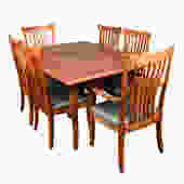 Solid Cherry Set of 6 (2 Arm + 4 Side) Chairs + Expanding Dining Table