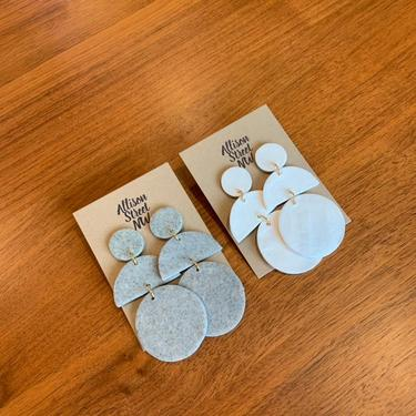 Katherine: terracotta, granite or white clay earrings in post or clip-on. earthy, burnt orange, big, boho, southwestern. circle, half moon. by AllisonStreetNW