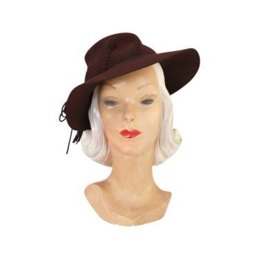 1940s Brown Fedora - 1940s Womens Fedora - 1940s Womens Hat - 1940s Brown Hat - Vintage Brown Fedora - 1940s Hat - Vintage Brown Hat by VeraciousVintageCo
