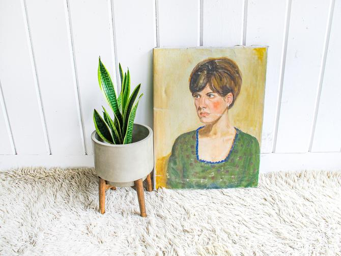Vintage Original Painting - Portrait of a Woman - San Antonio Texas by Mitchell by PortlandRevibe