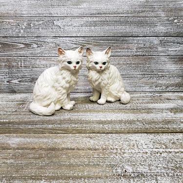 Vintage Lefton Cat Figurine Pair, Long Hair Persian Kitty Cat, Blue Eyed Ceramic Cat, Lefton H1517, Vintage White Cats, Vintage Home Decor by AGoGoVintage