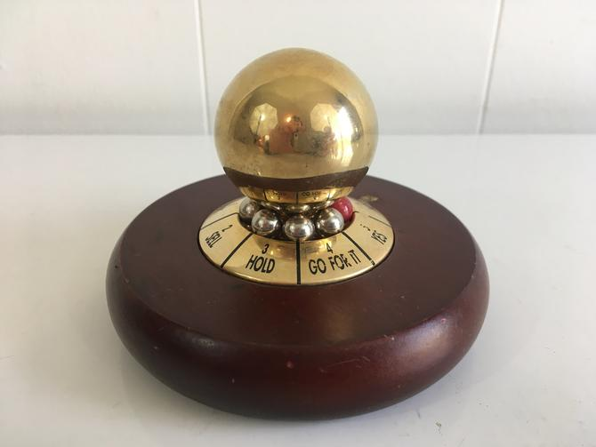 Vintage Spinning Decision Maker Desk Accessory Decider Spin Office Executive Brown Wood Brass Retro Toy Paperweight by CheckEngineVintage