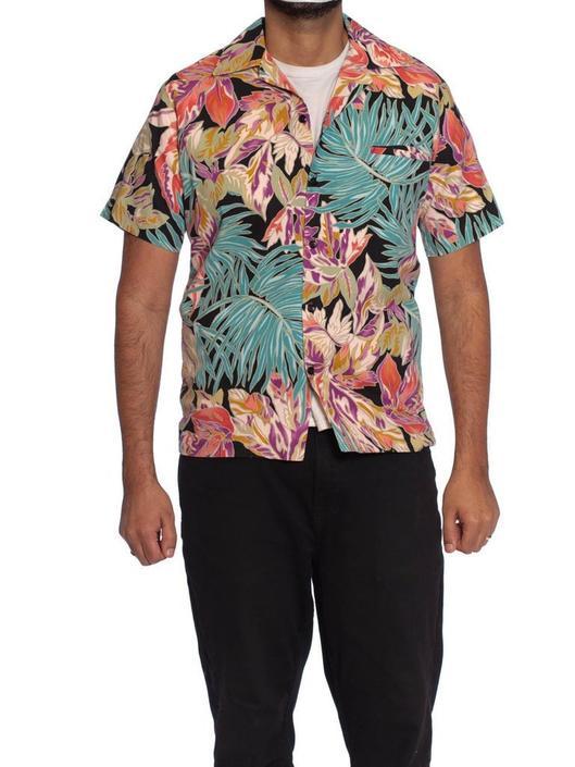 1970S Black  Pink Tropical Cotton Men'S Scarface Hawaiian Shirt by SHOPMORPHEW
