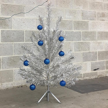 Vintage Aluminum Christmas Tree Retro 1950s Mid Century Modern + Silver Foil + Wire Branch + Tree + Metal Tripod Base + Stand MCM Home Decor by RetrospectVintage215