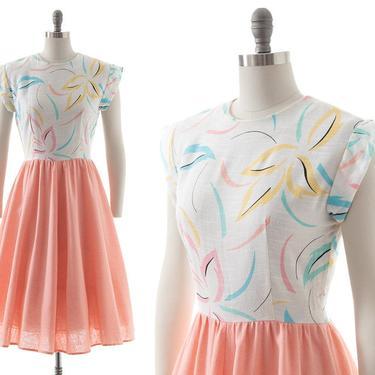 Vintage 1980s Dress | 80s Pastel Floral Print Color Block Cotton Full Skirt Skater Day Dress (small/medium) by BirthdayLifeVintage