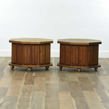 Pair Mid Century Modern Octagonal End Tables W Casters